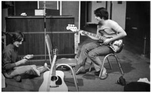 "1968, White Album sessions: "" 'You can do anything that you want, Paul, anything you desire.' "" (Photo by Linda McCartney)"