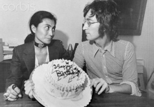 John Lennon and Yoko Ono with Birthday Cake