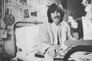 George breaks up with his tonsils, February 1969. Photo appears in his autobiography, I Me Mine.