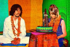 1968, in India. That's actually a cake for Pattie Boyd, whose birthday was a three weeks after George's.