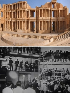 Coliseums real (Sabratha, top) and fabricated (Rediffusion's Wembley Park studio)