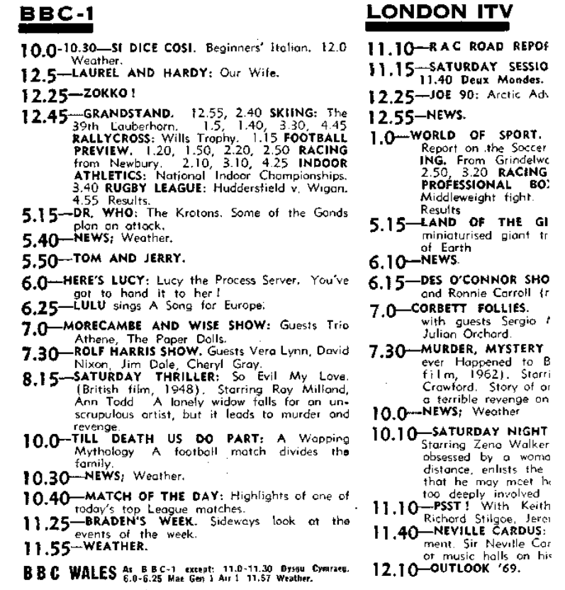 jan 11 1969 TV